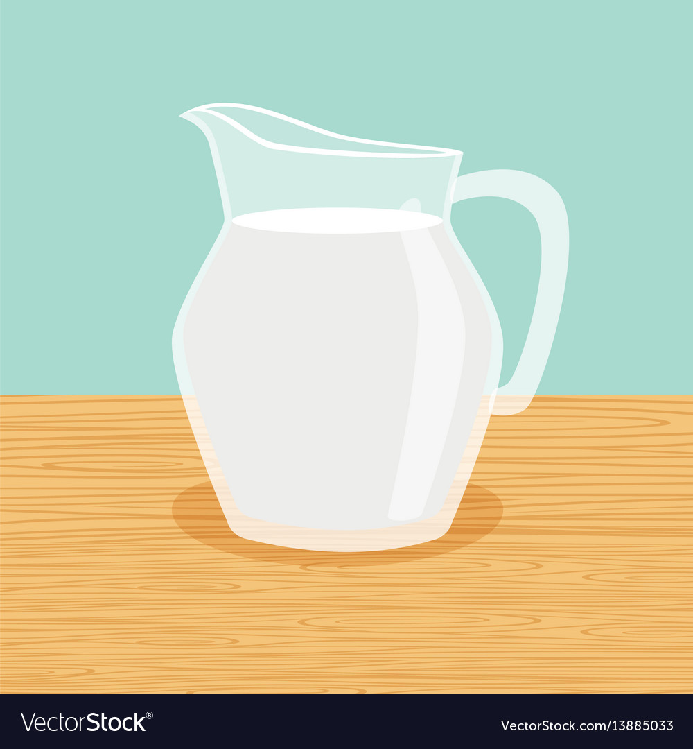Farm milk carafe on the table vector image