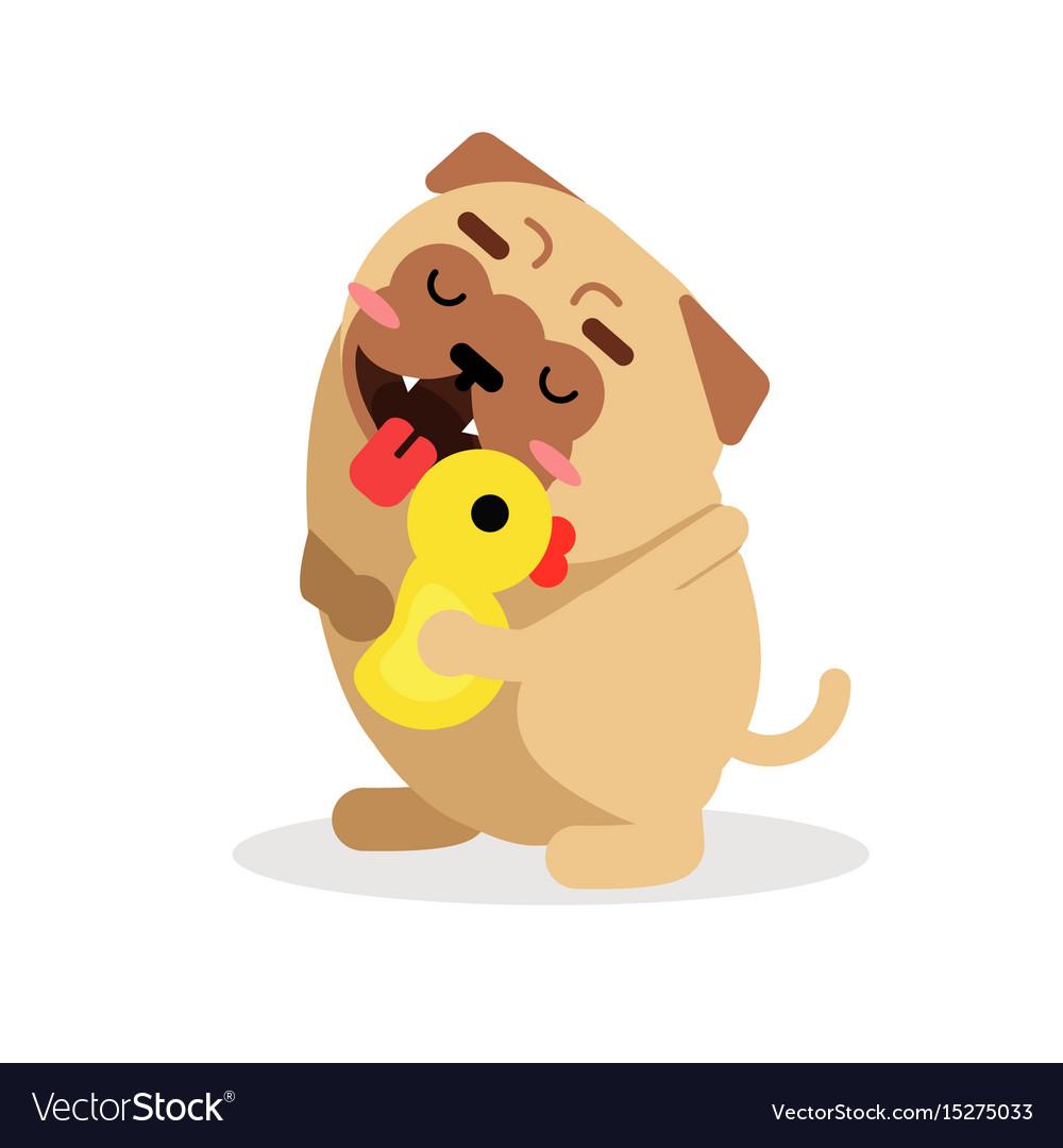 Funny cartoon pug dog character hugging yellow