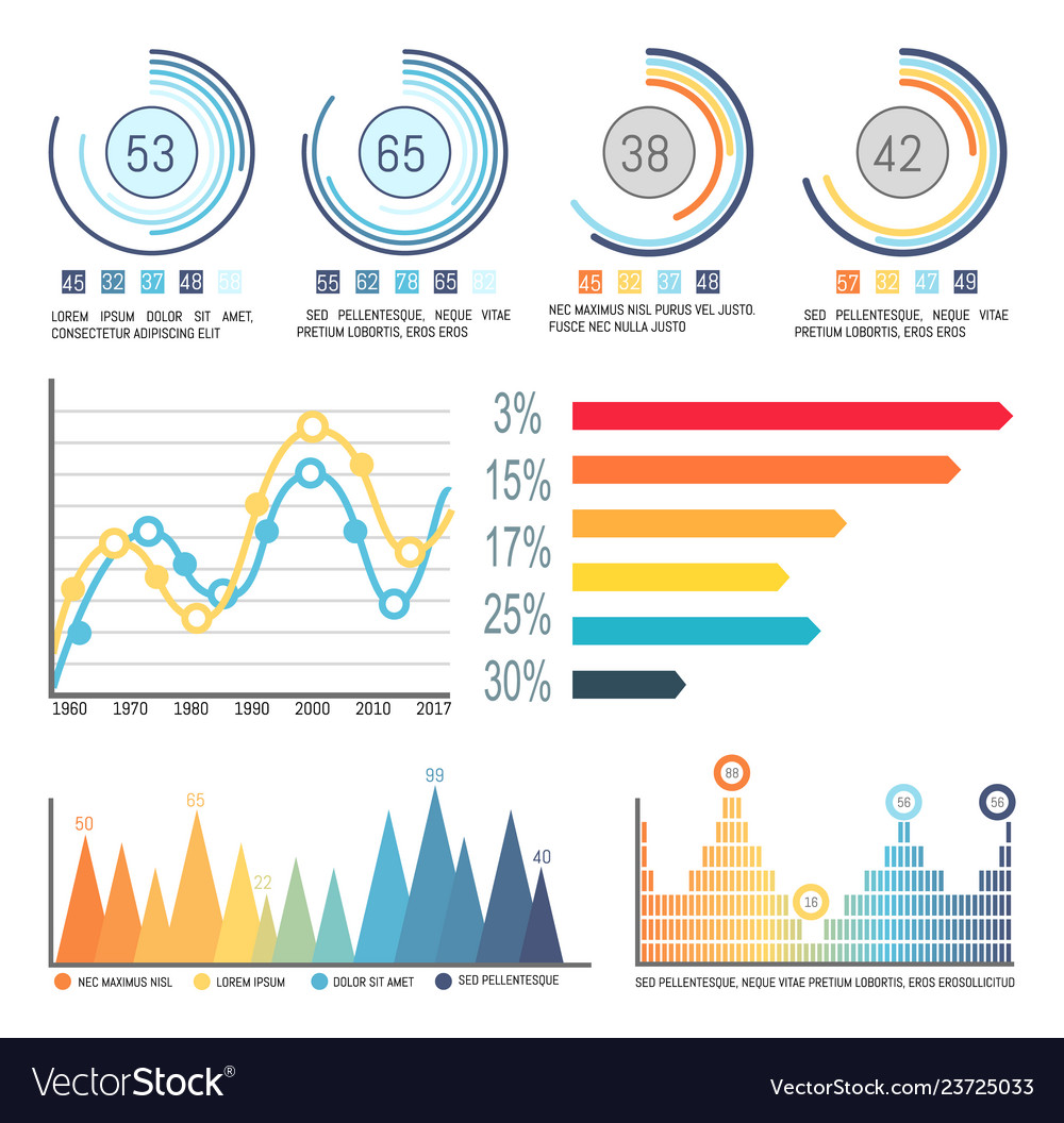 Infographic and pie diagrams curves visual info