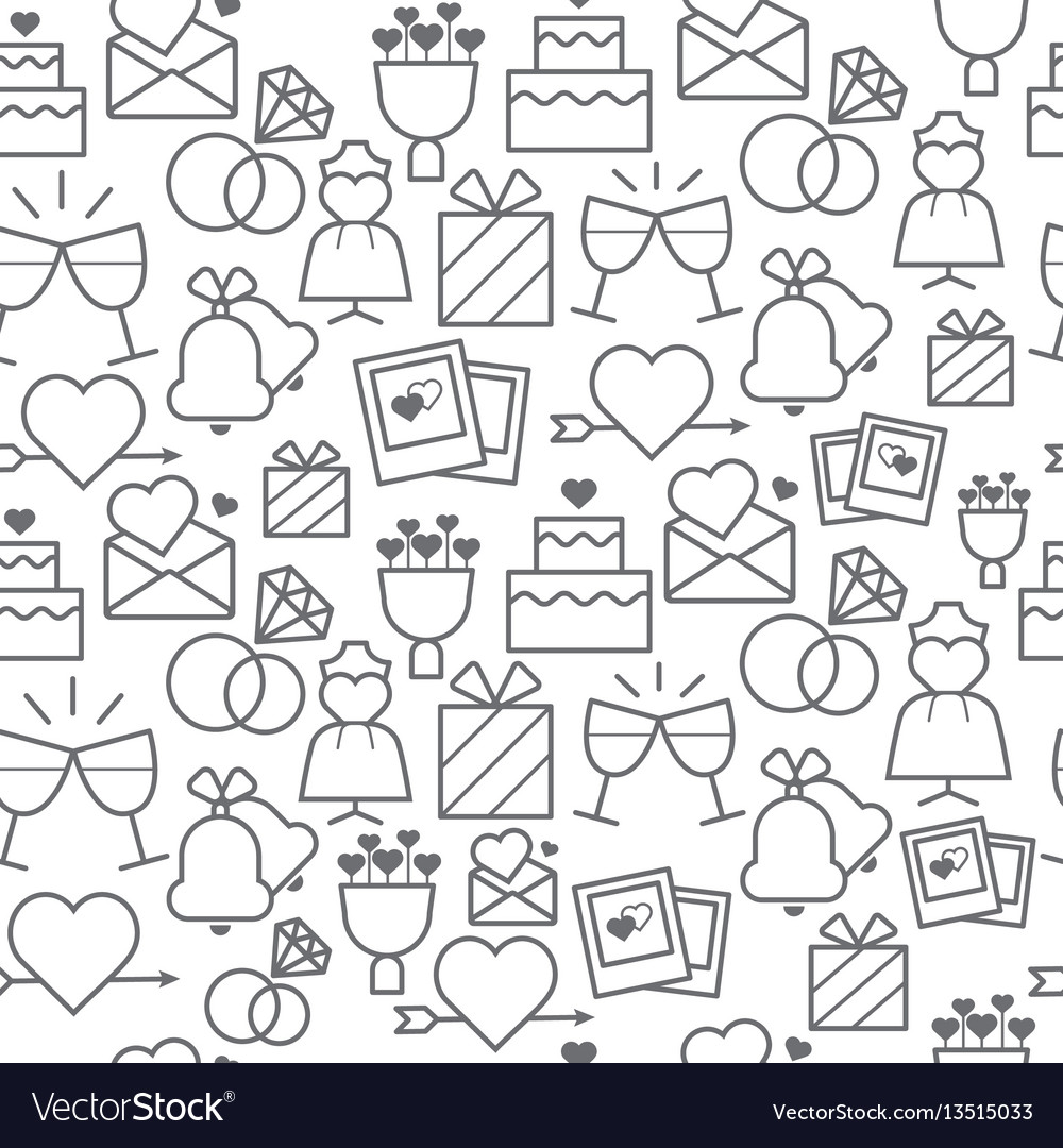 Line style icons seamless pattern wedding