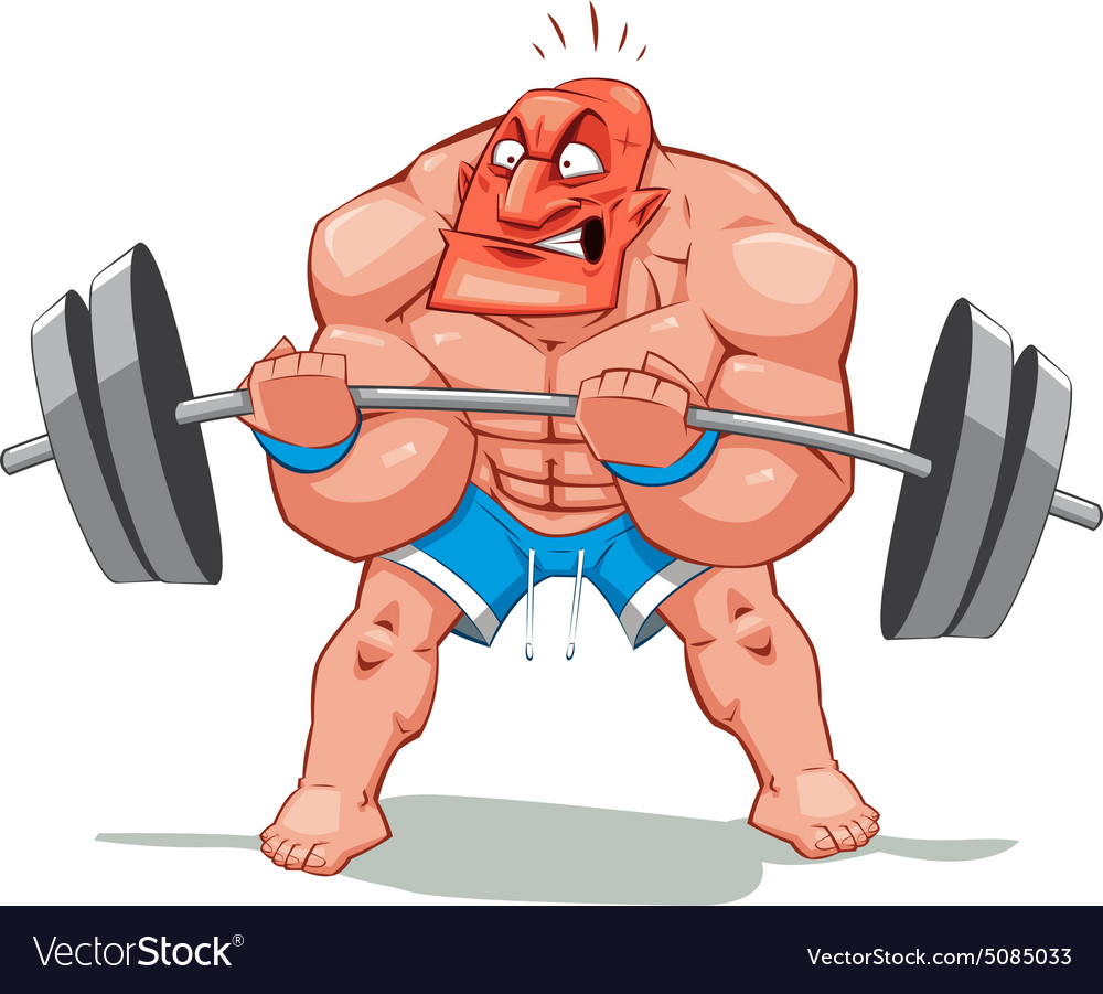Muscle Man Funny Cartoon And Character Royalty Free Vector