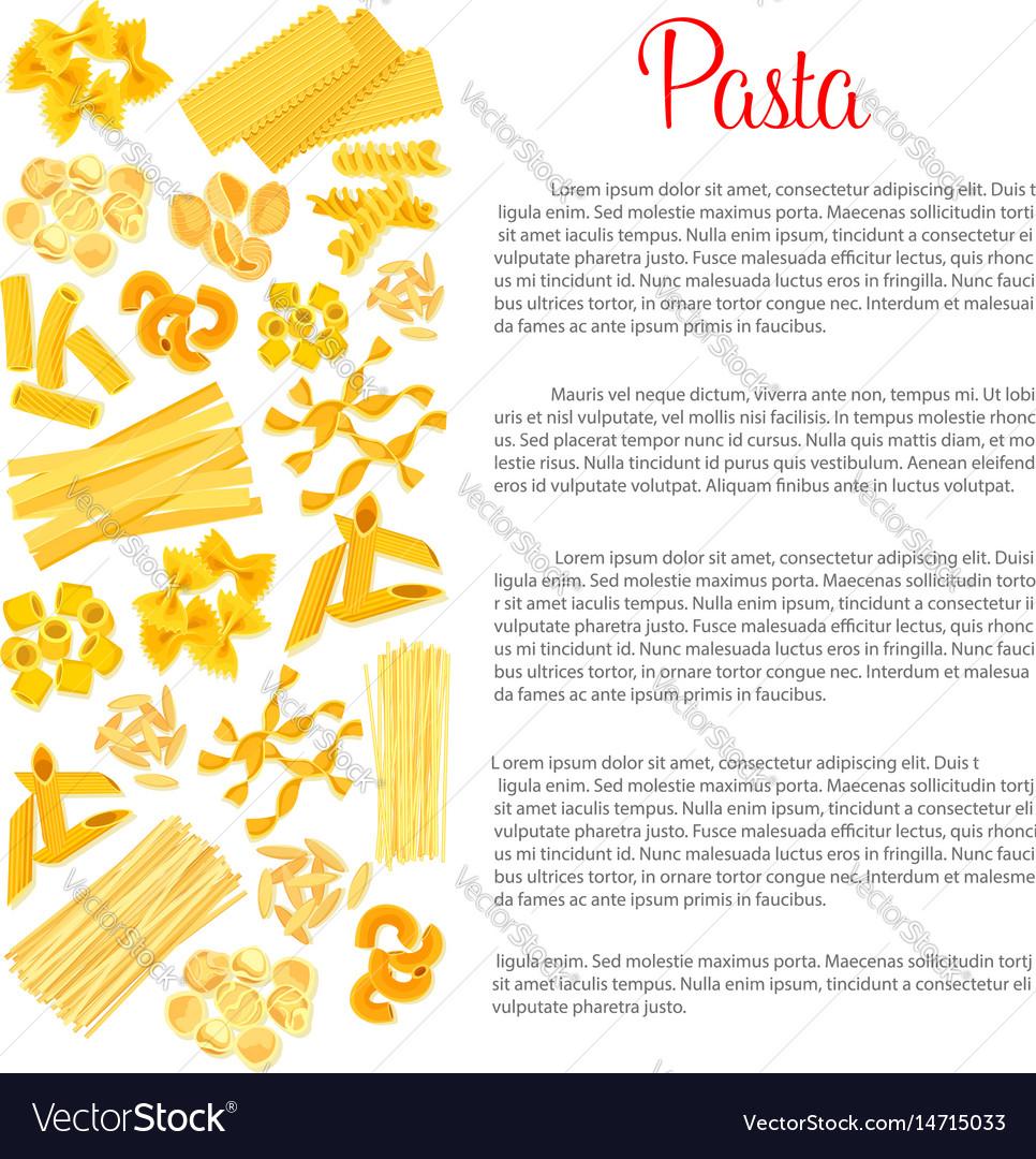 Poster of pasta for italian cuisine vector image