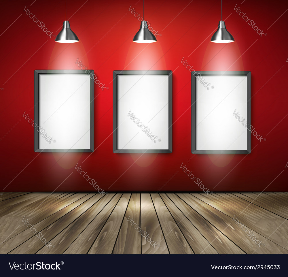 Red room with spotlights and wooden floor
