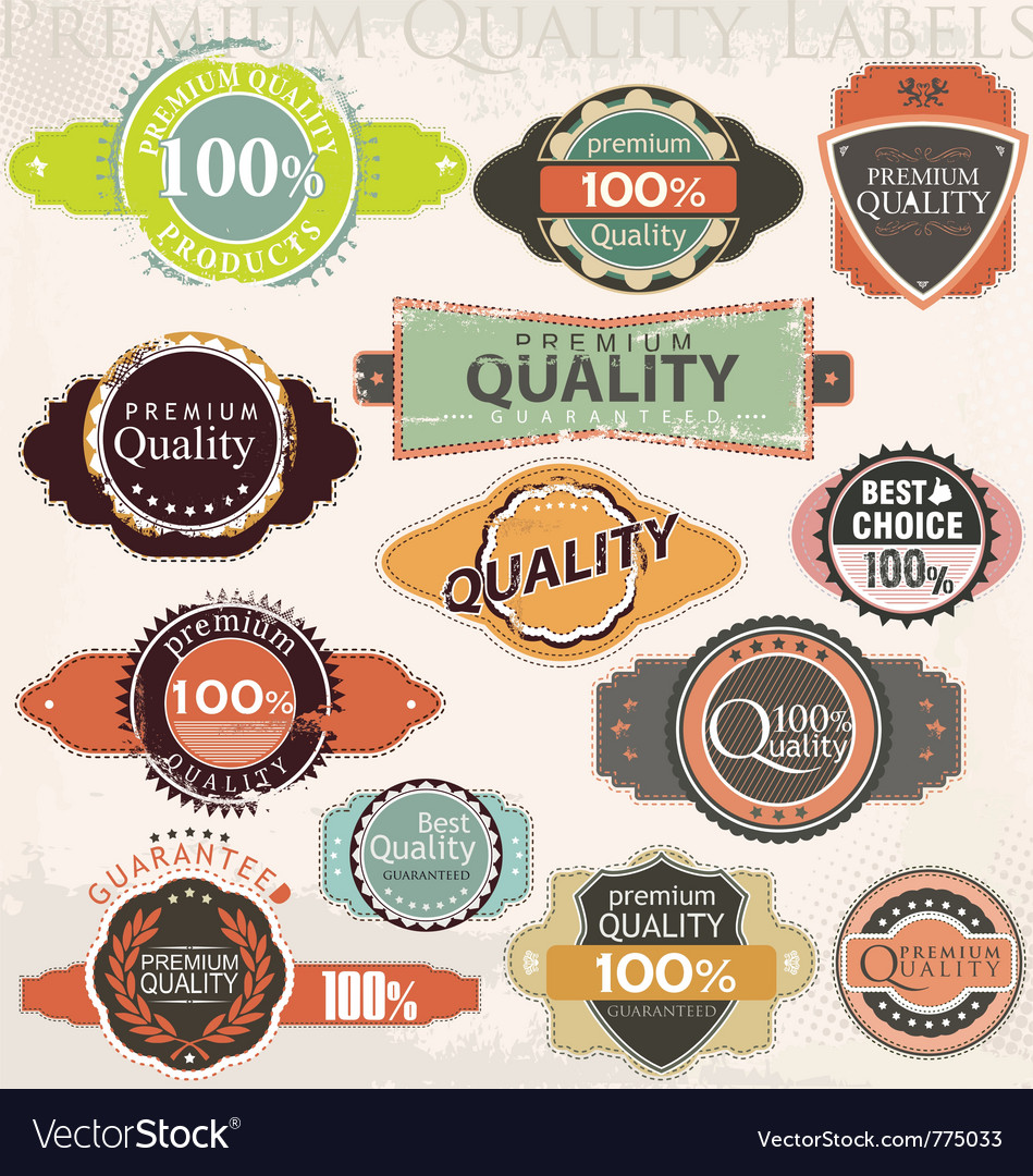 Retro premium quality label collection set