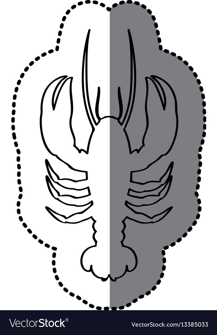 Sticker silhouette with line contour of lobster