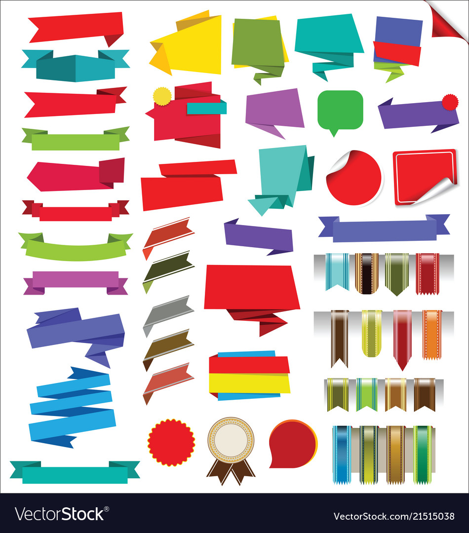 Collection of labels stickers banners and tags
