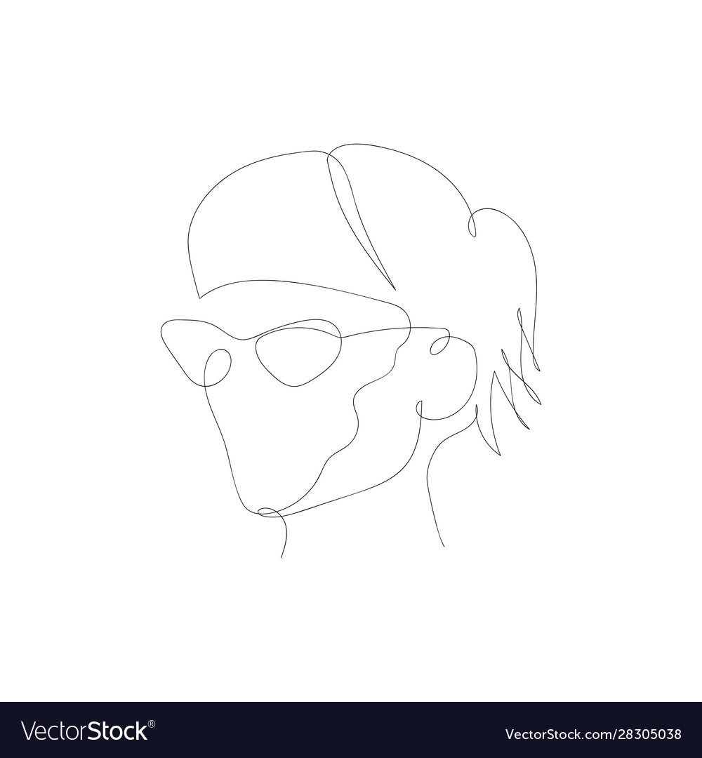 Continuous one line abstract woman with glasses