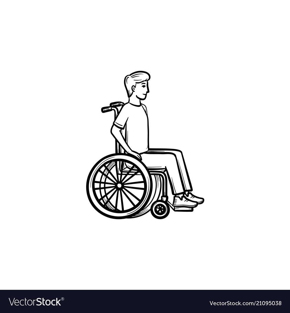 Disable person in wheelchair hand drawn outline
