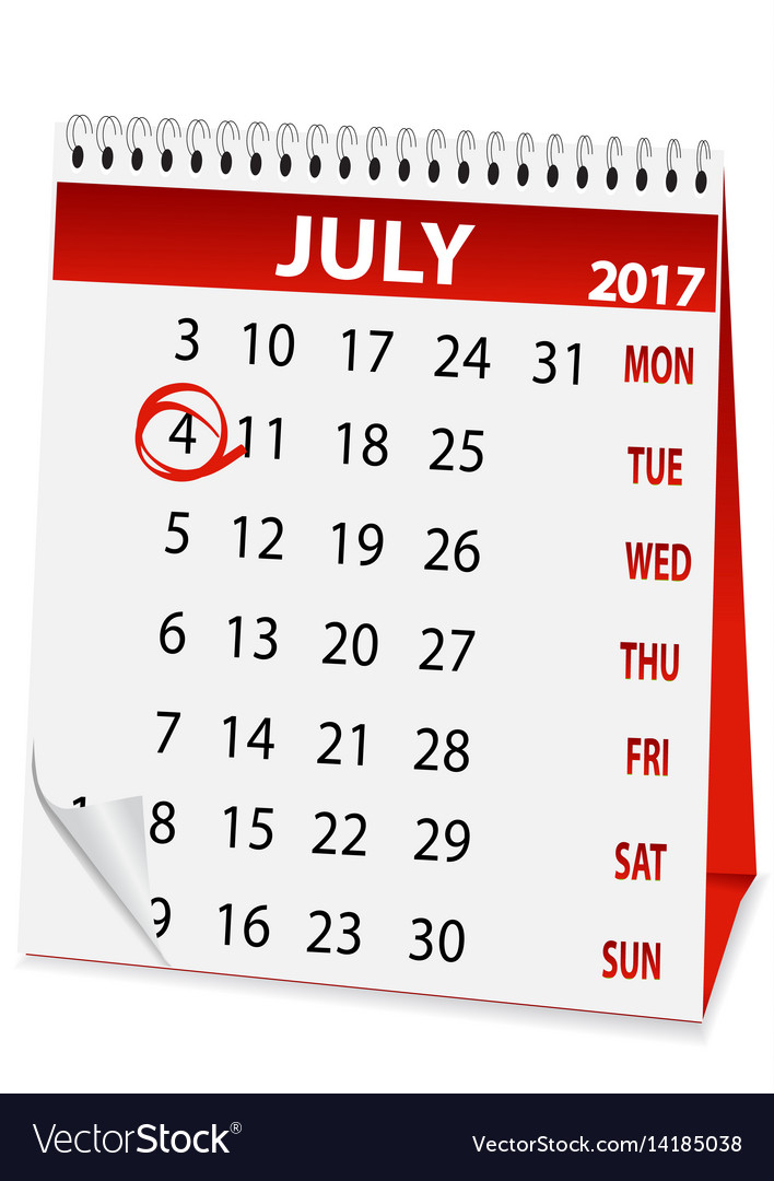 Icon calendar for july 4 2017