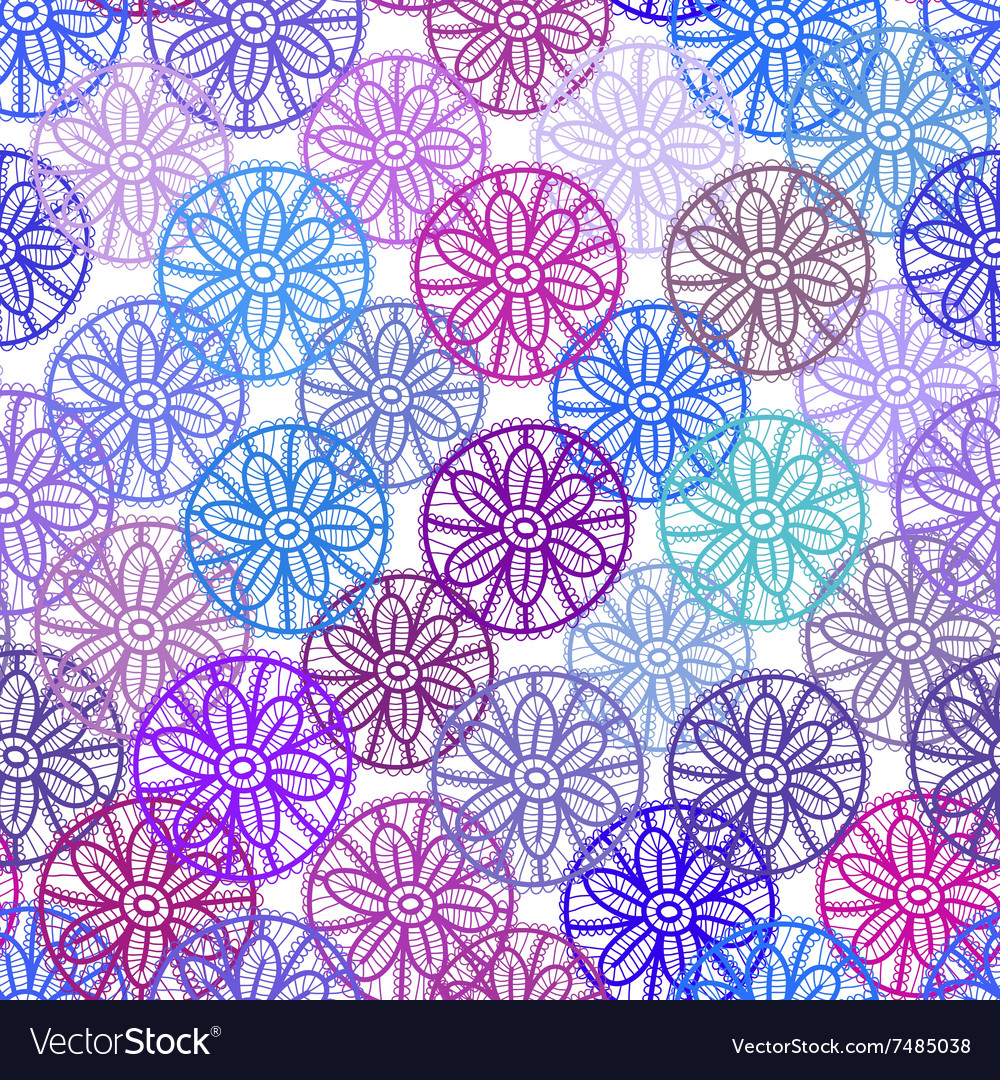 Lace seamless pattern with lilac pink purple blue