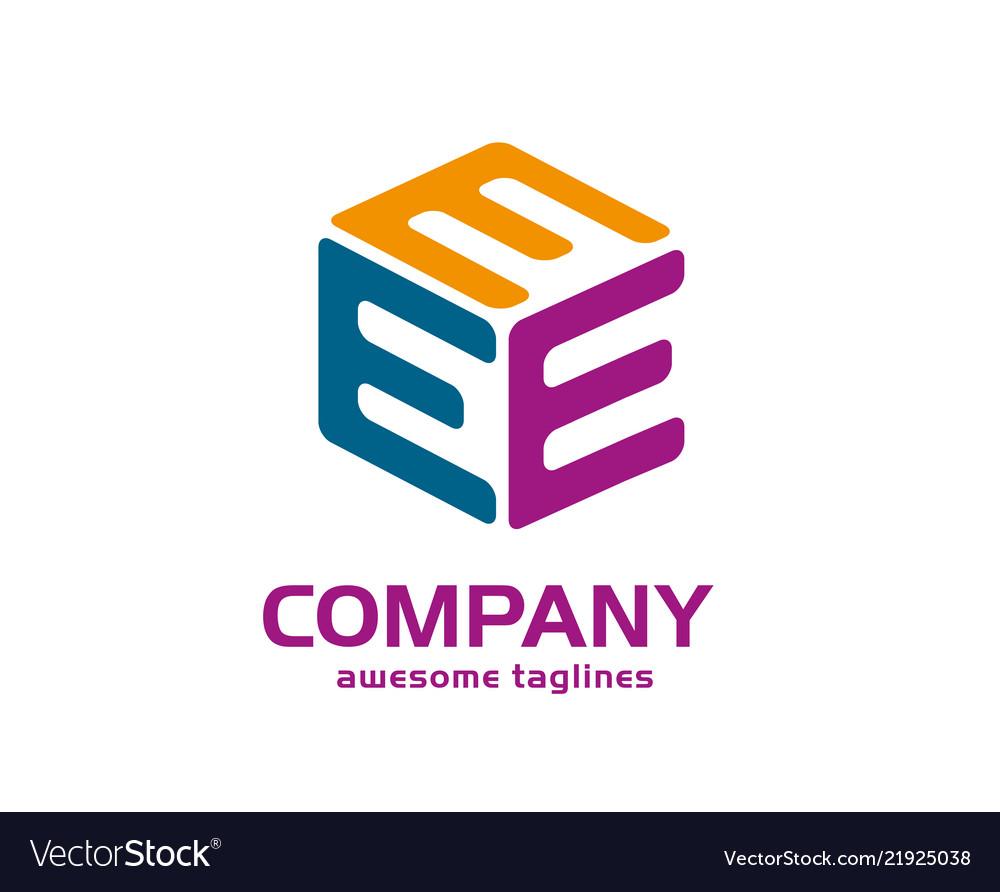 largo Costume Orale  Letter e 3d cube logo Royalty Free Vector Image