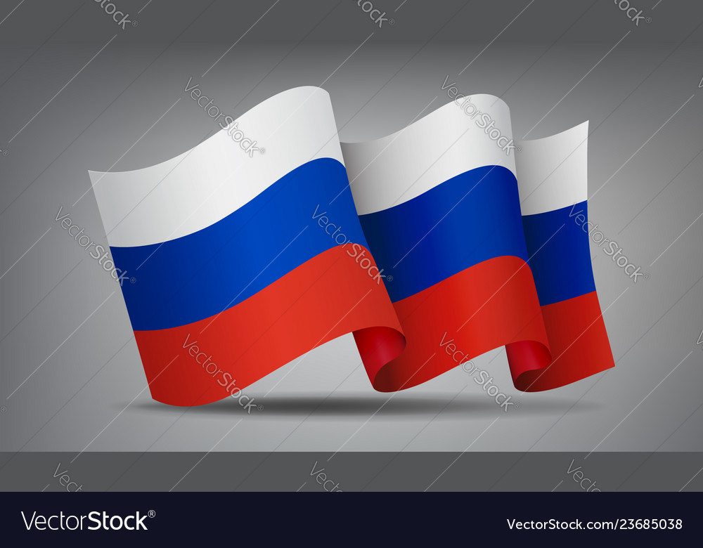 Russia waving flag icon isolated official symbol