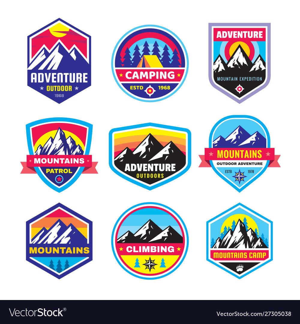 Set adventure outdoor concept badges