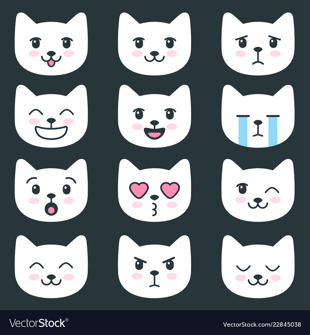 Set of cat faces with different emotions