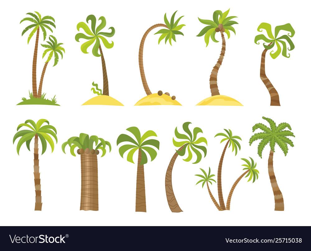 Set simple palm trees flat cartoon
