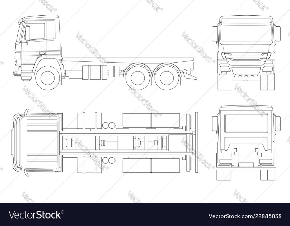 Truck tractor or semi-trailer truck in outline
