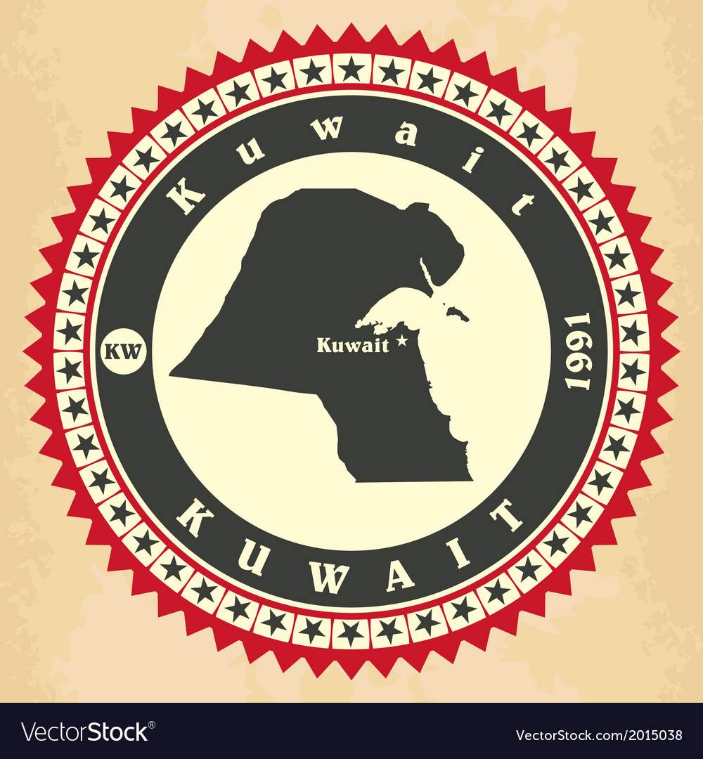 Vintage label-sticker cards of Kuwait