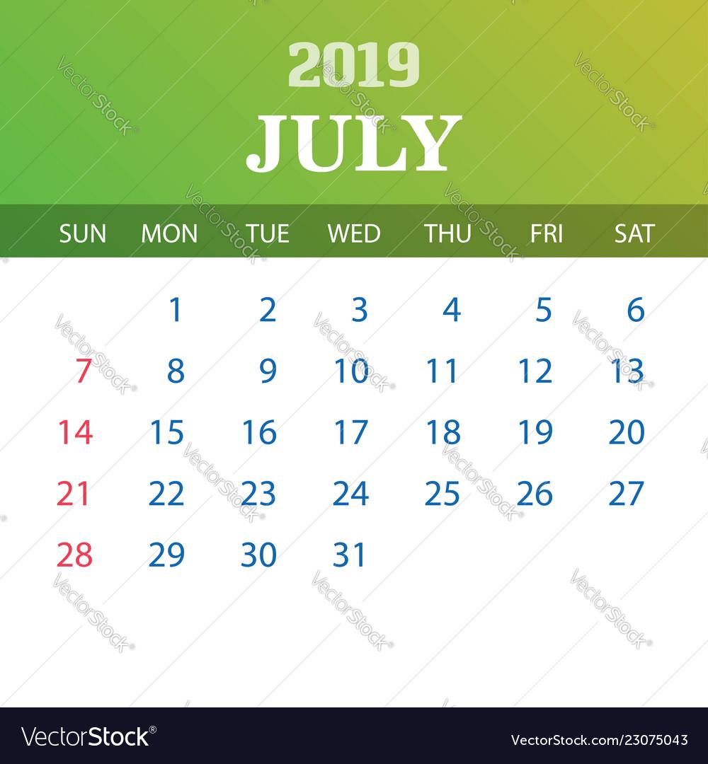 2019 calendar template - july