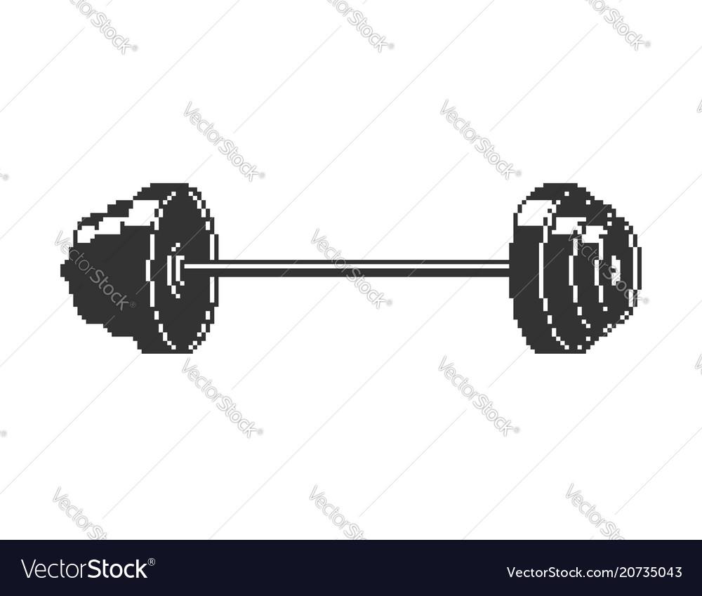 Barbell pixel art 8 bit sport object isolated