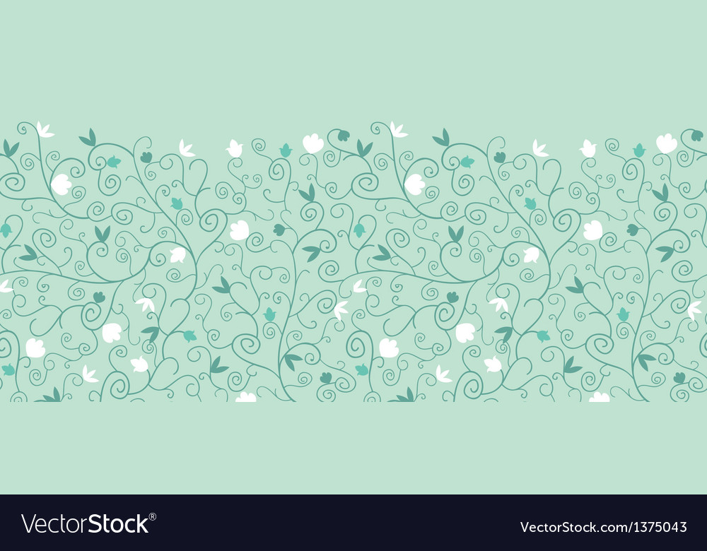 Blossoming Branches Horizontal Seamless Pattern