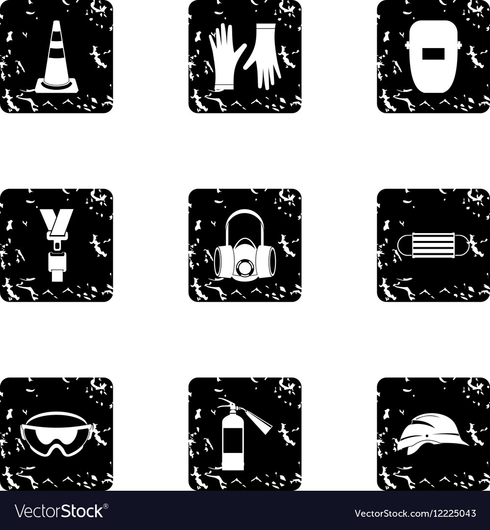 Building tools icons set grunge style