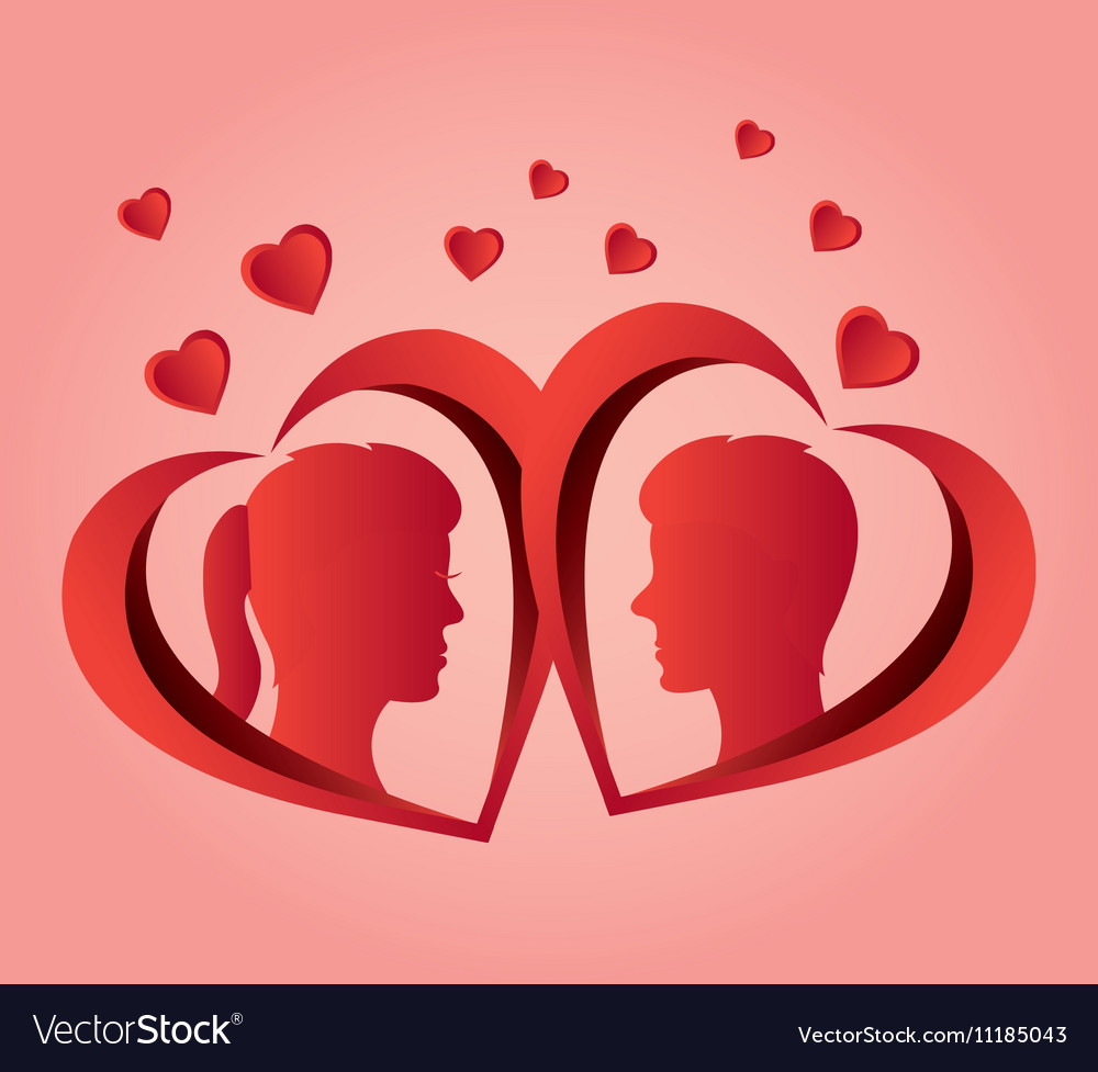 Couple profile love heart design
