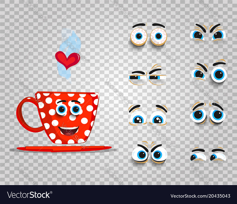 Cute Emoji Set Of Red Cup With Changeable Eyes Vector Image