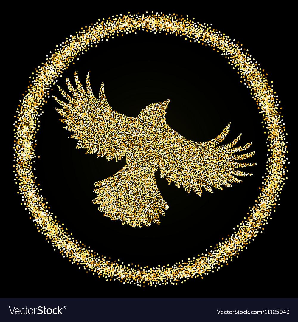 Golden glitter flying Bird on black background