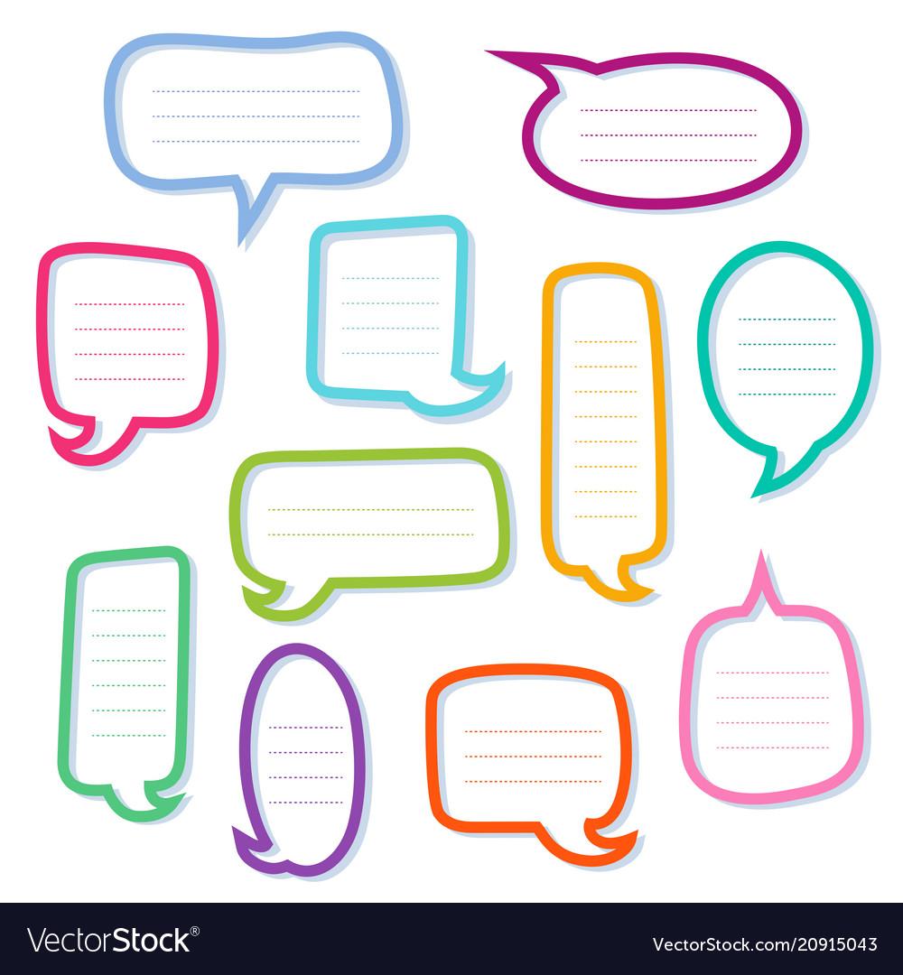 Hand drawn outline speech bubbles dialogs boxes