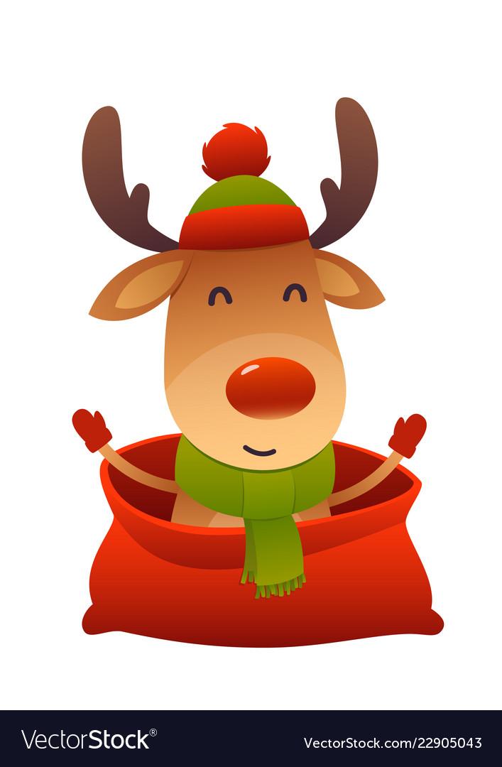 Happy new year cartoon card christmas reindeer in