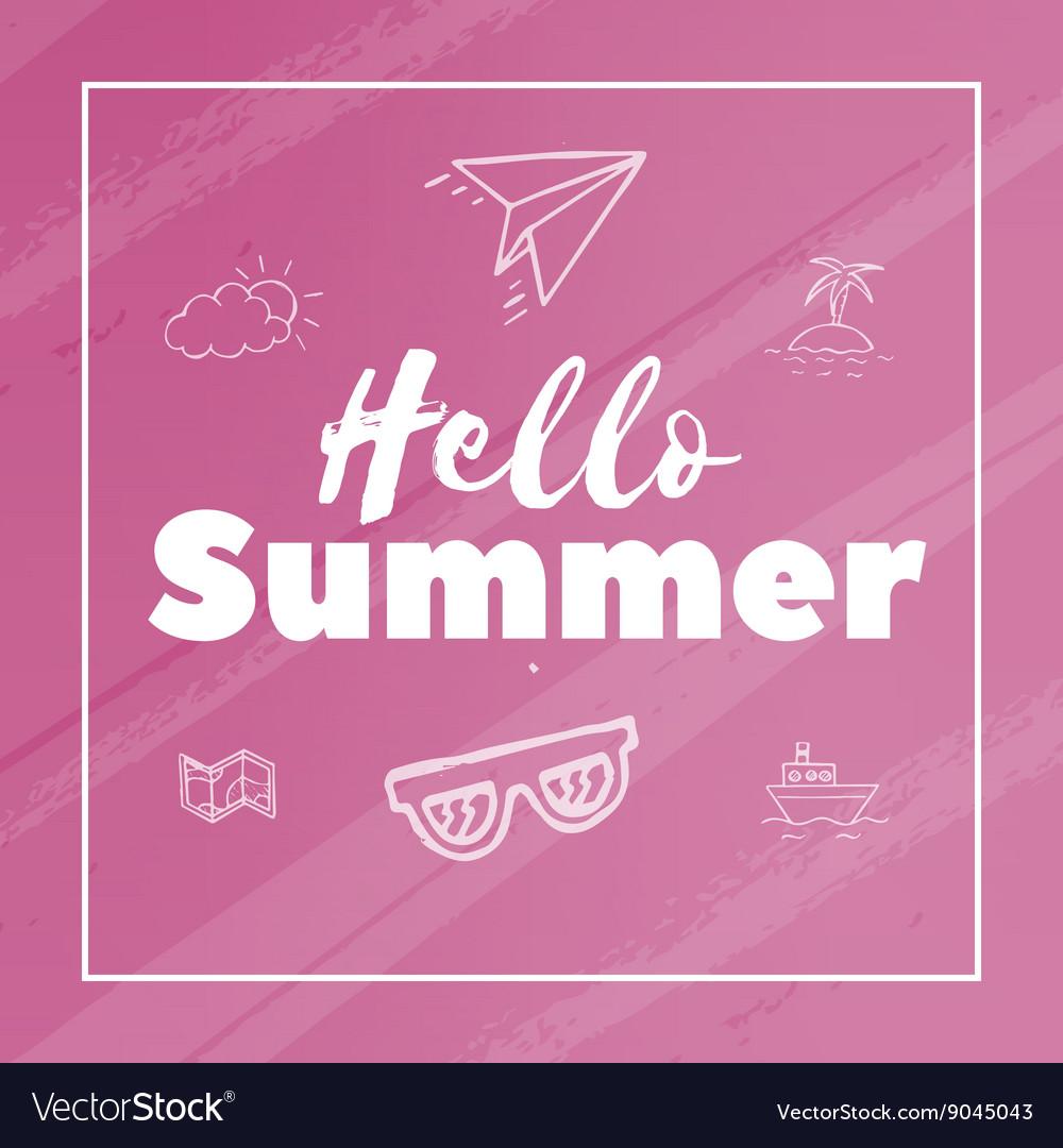Hello Summer text vector image