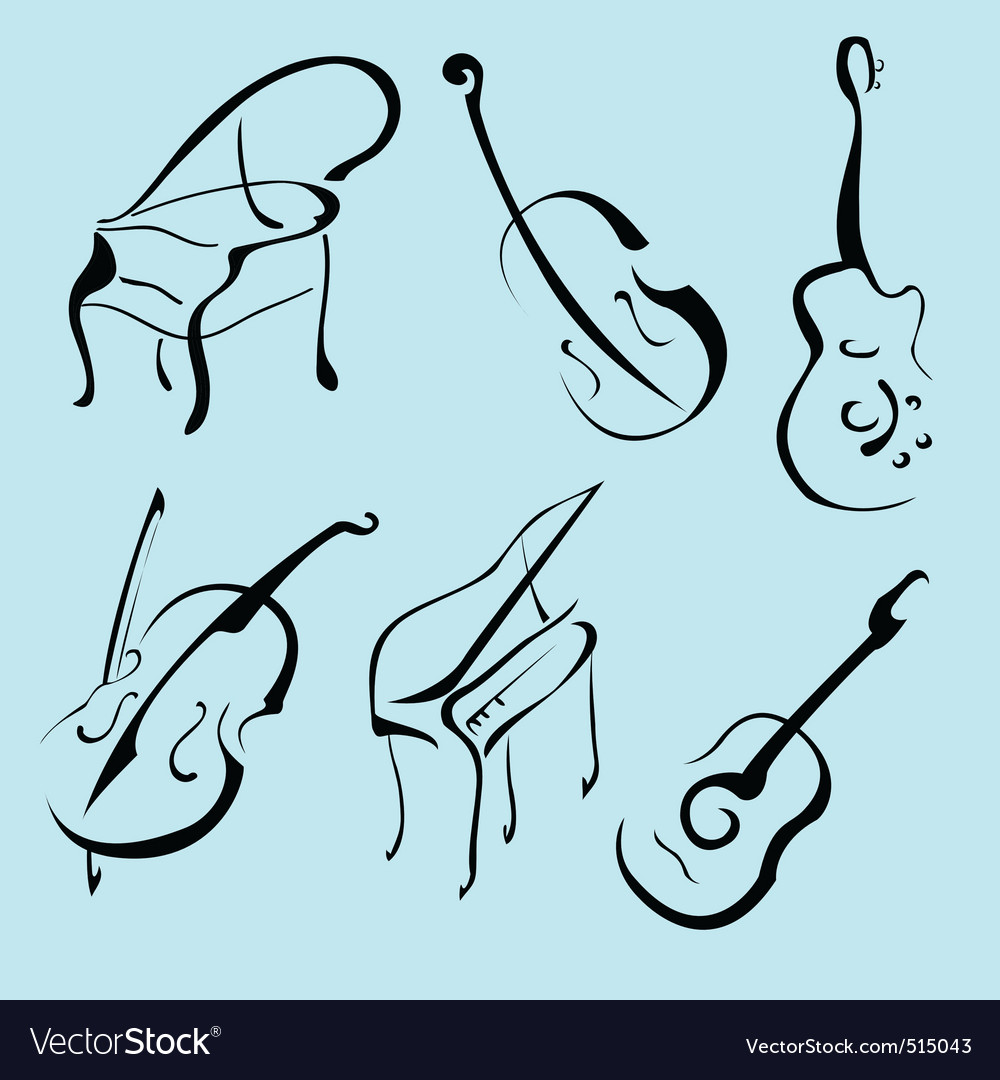 Music instruments design set vector image