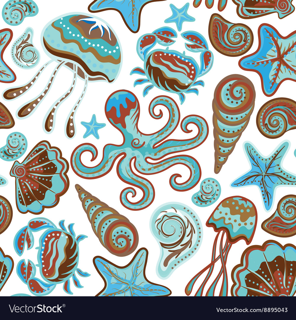 Seamless pattern of sea life fishes whale