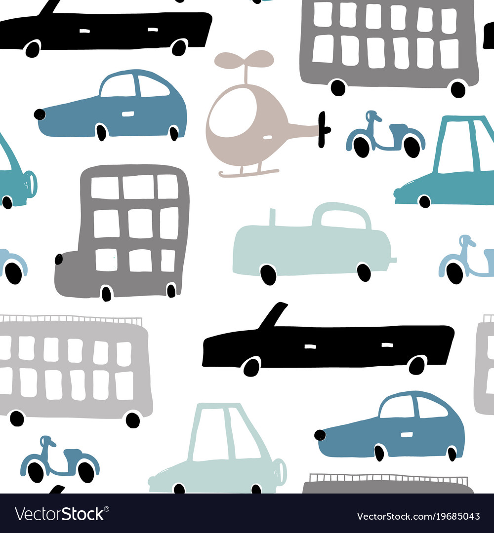 Seamless pattern with hand drawn transport cartoon