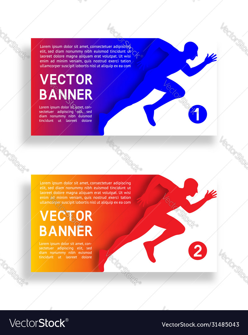 Set gradient banners with running man