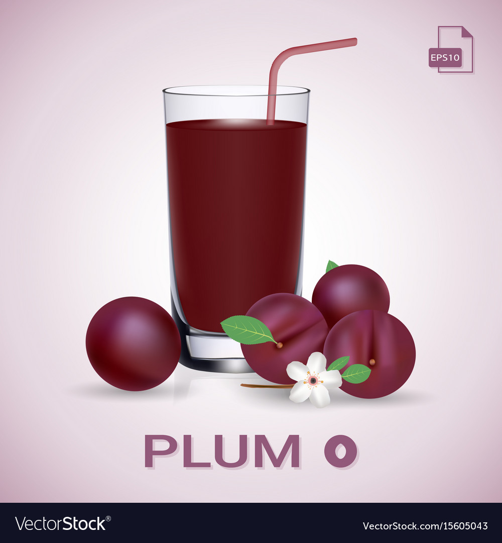 Set of plum juice and fresh ripe fruits