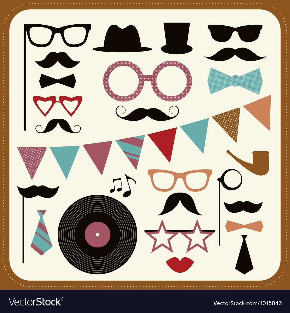 Set of retro party elements Mustaches hats and