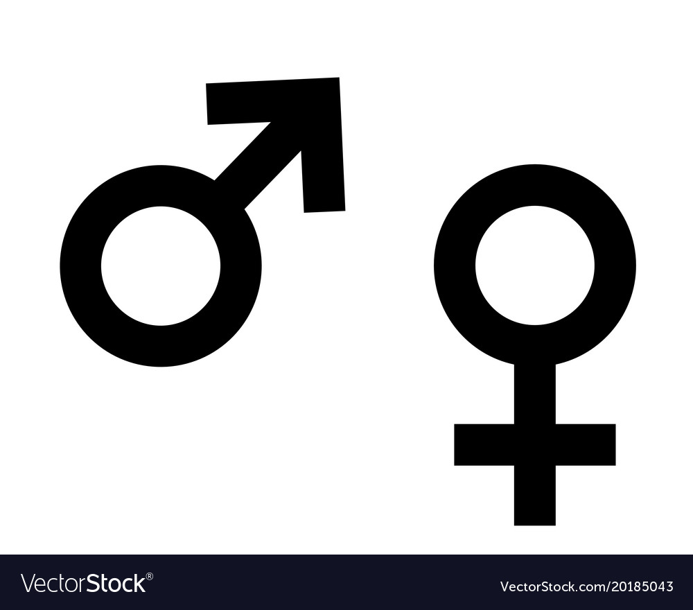 Symbol of female and male on white
