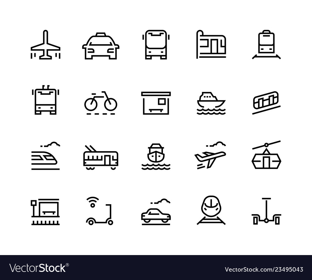 Transport line icons public bus car airplane
