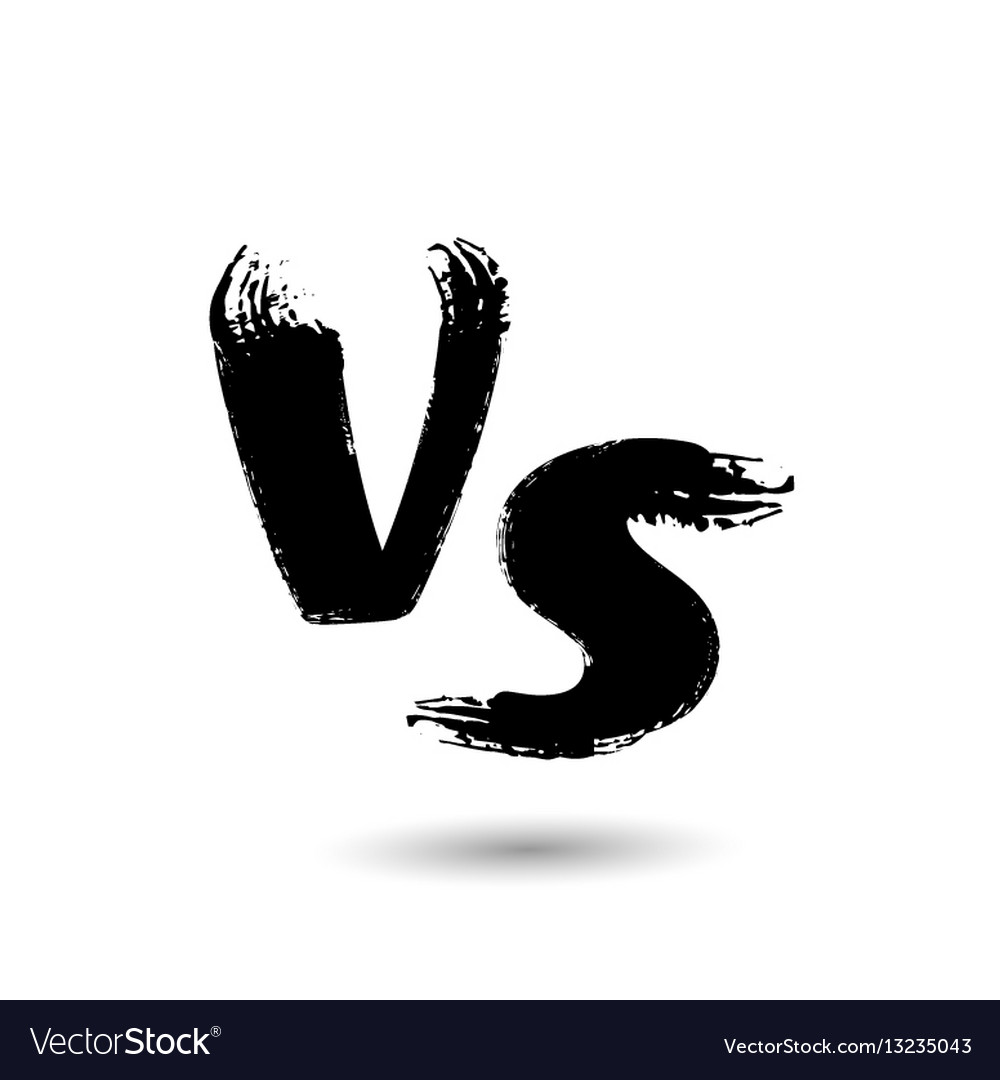 Versus Sign Vs Letters Isolated On White Vector Image