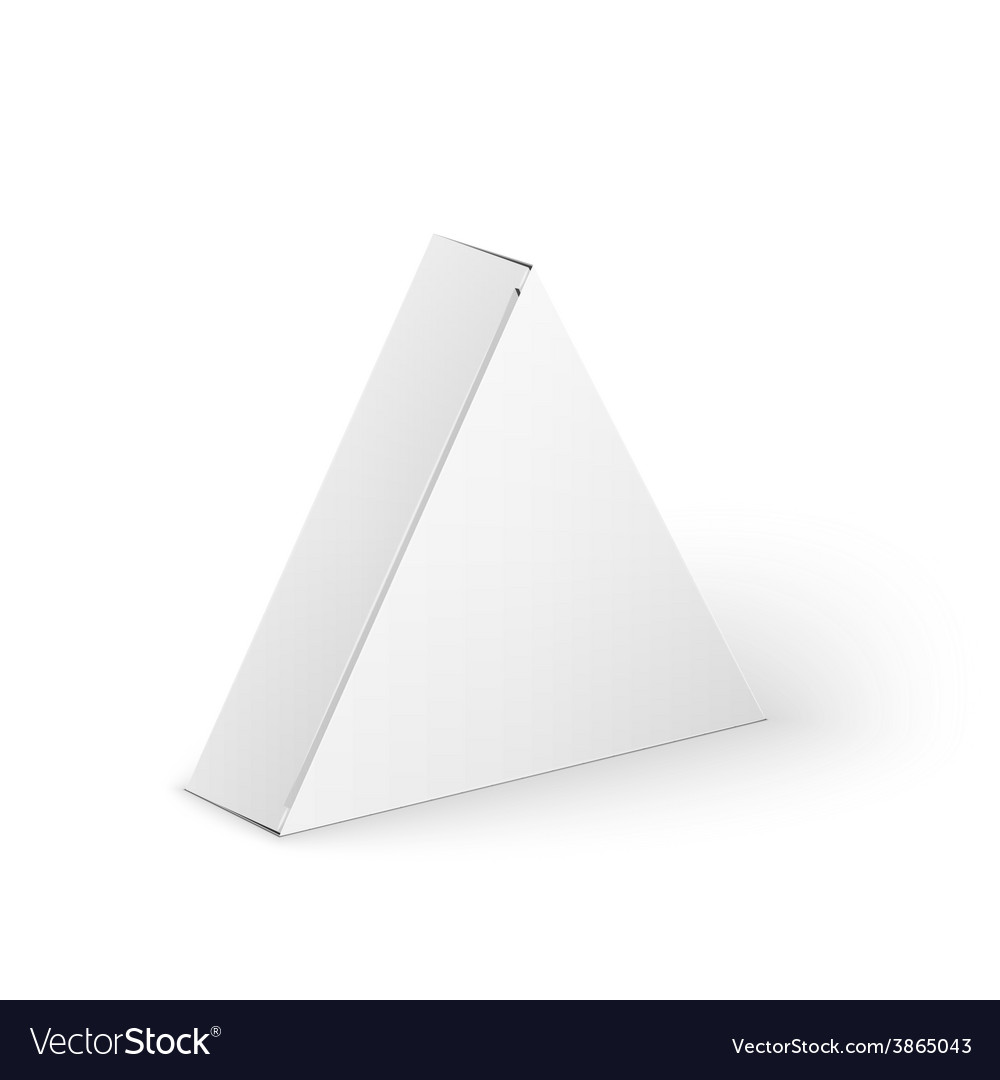 White Product Triangle Package Box Mock Up Vector Image