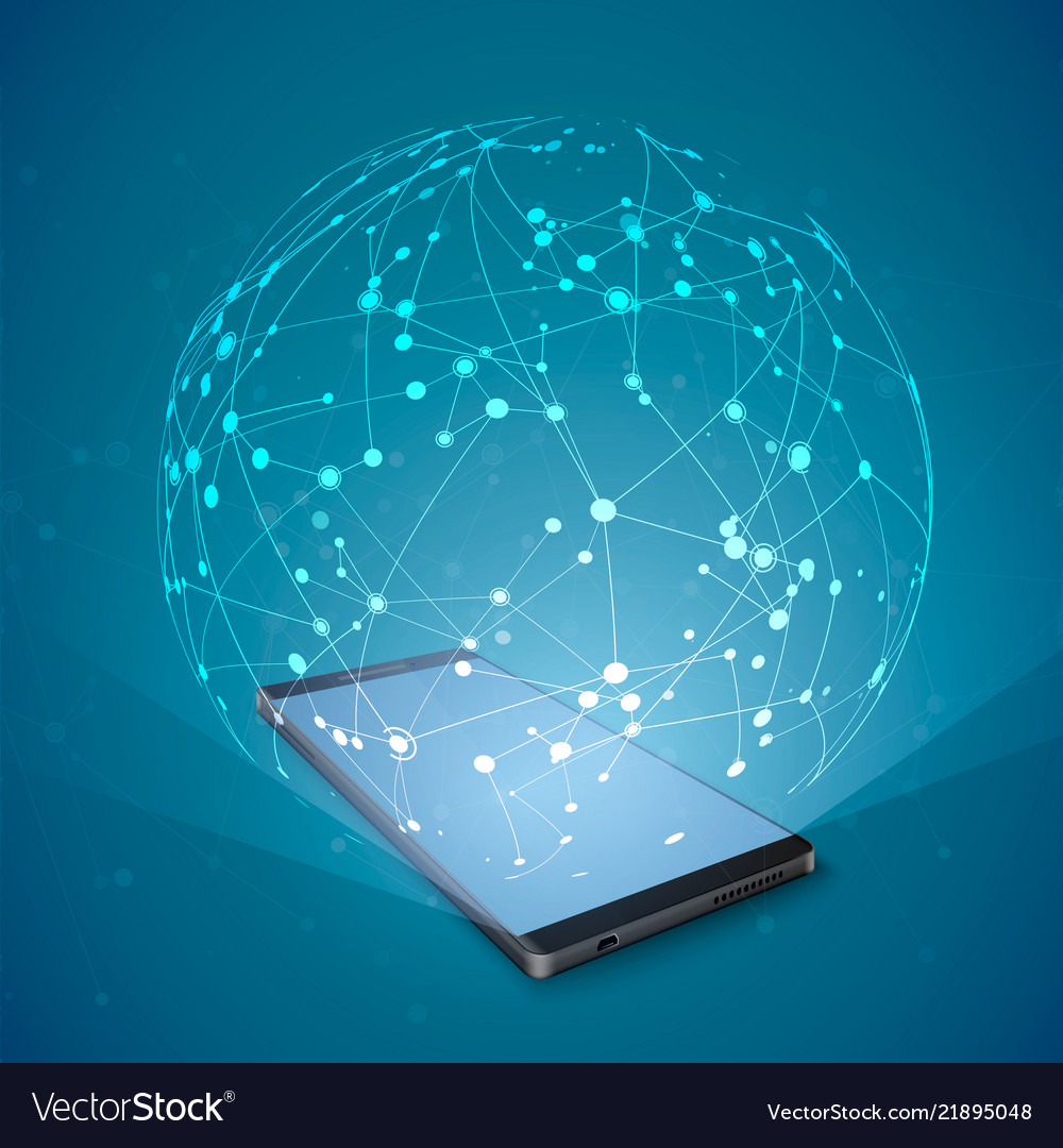 Abstract network hologram over smartphone screen