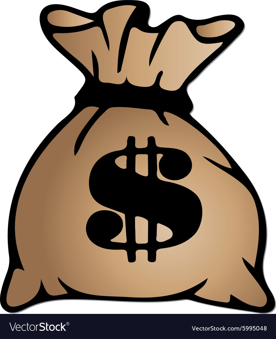Bag With Money Sign Cartoon: Brown Money Bag Icon With Dollar Sign Isolated On Vector Image