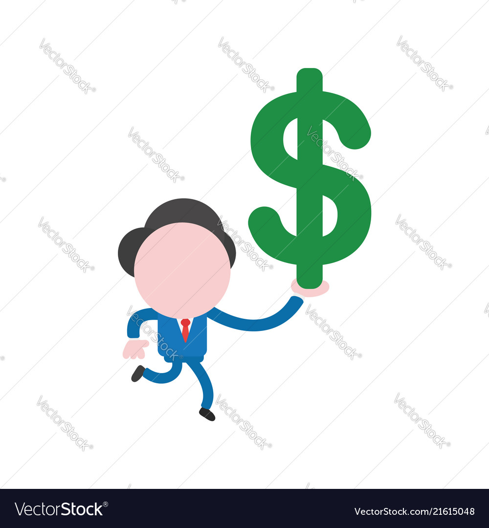 Businessman character running and holding dollar