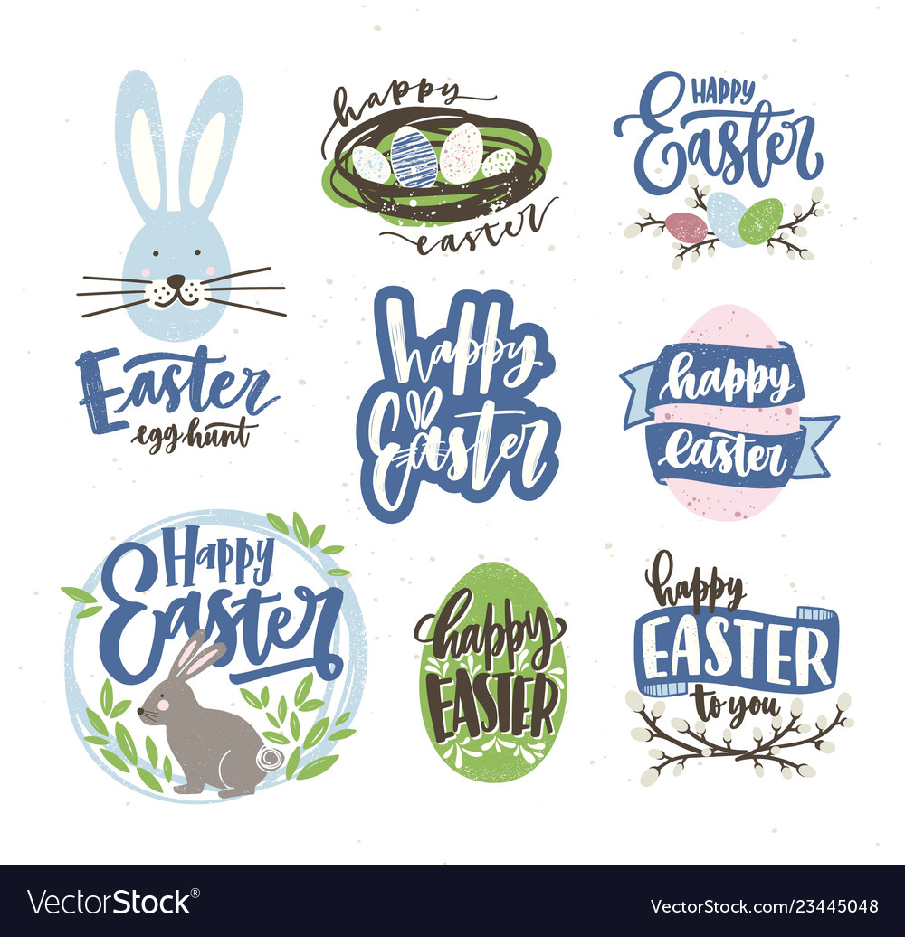 Collection easter letterings handwritten