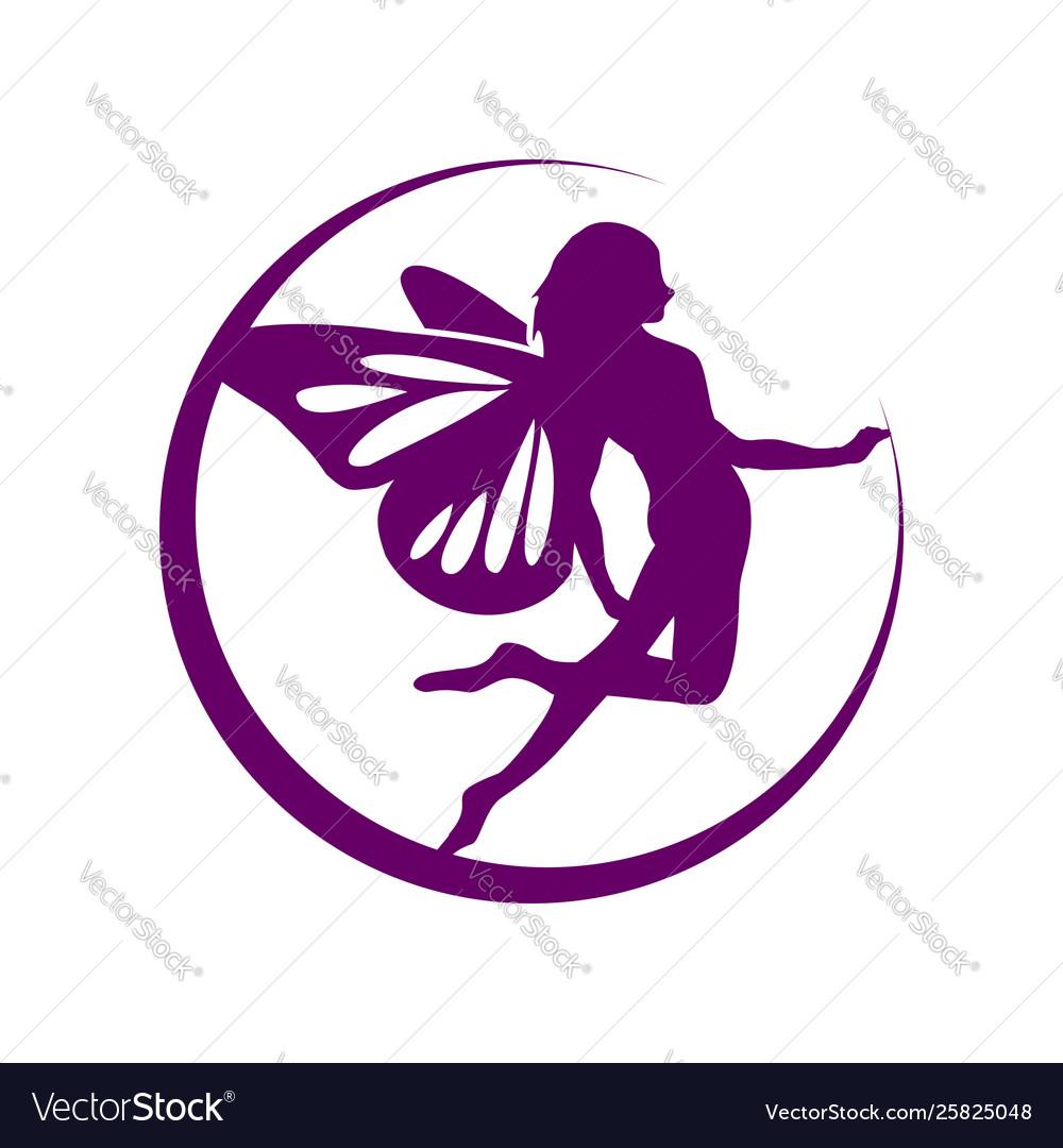 Crescent moon flying fairy symbol design