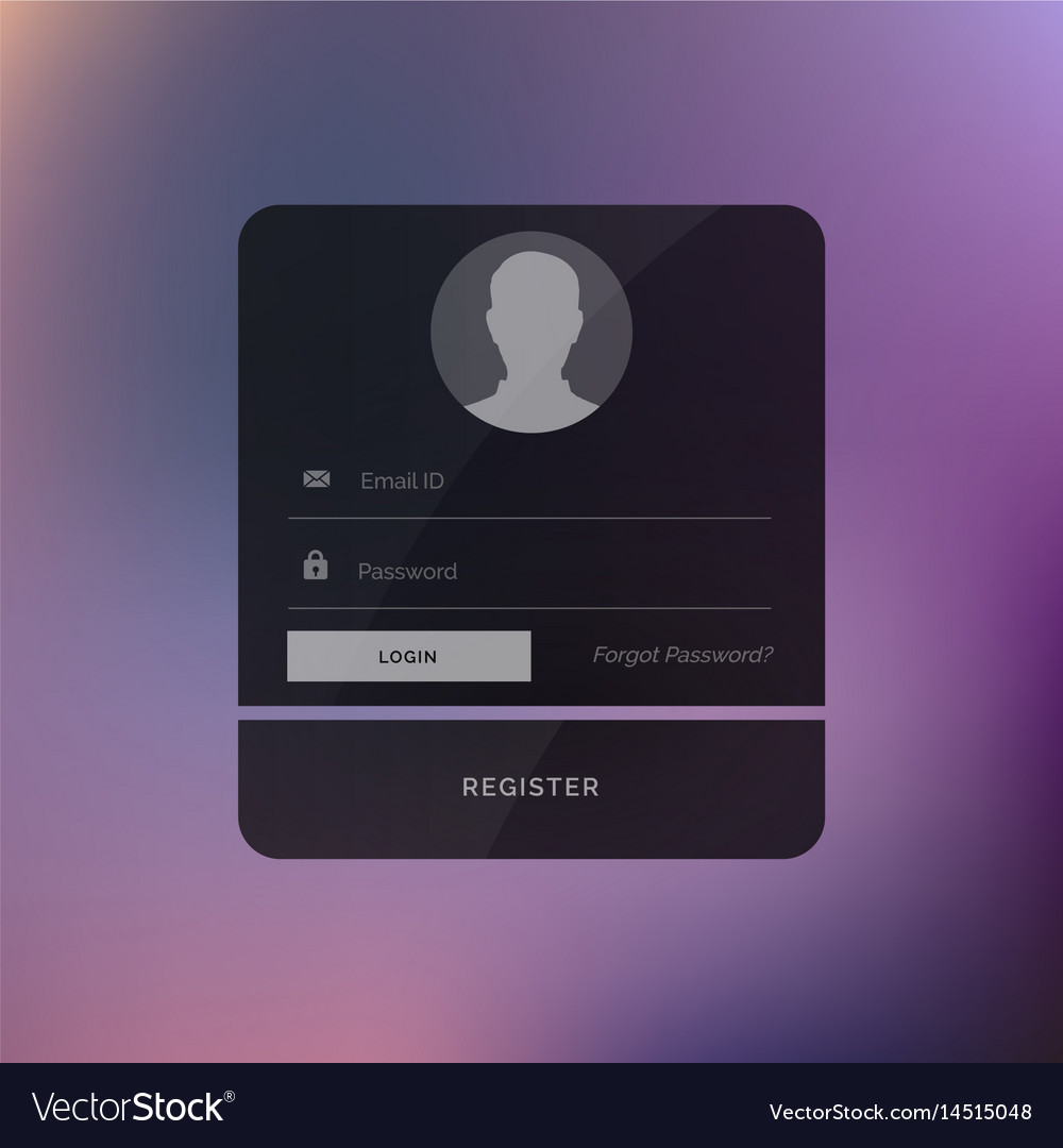 dark login ui design template royalty free vector image