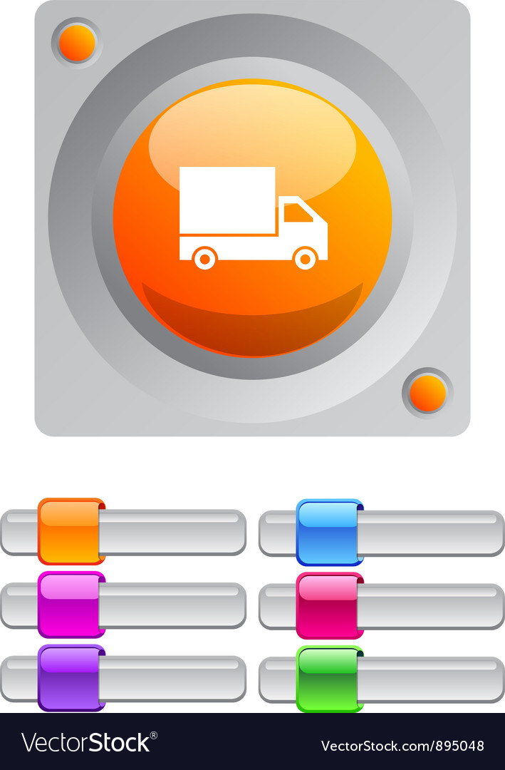 Delivery color round button vector image