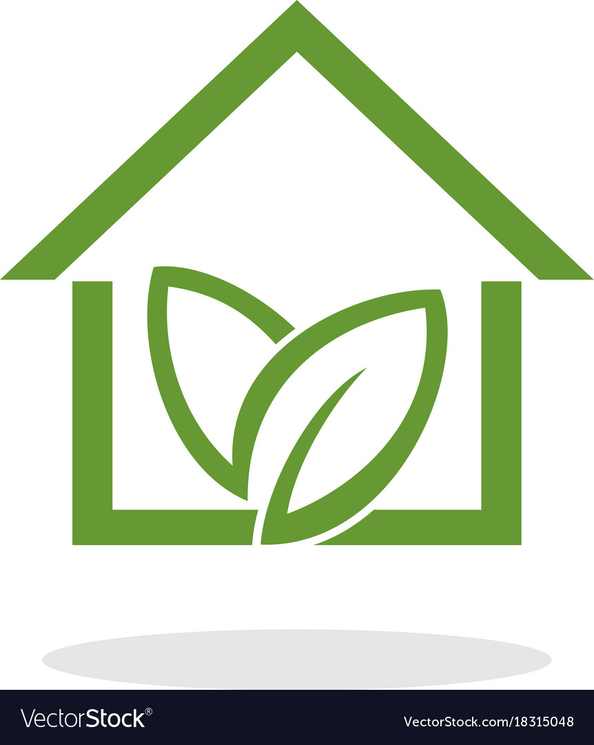 Green home with leaf logo