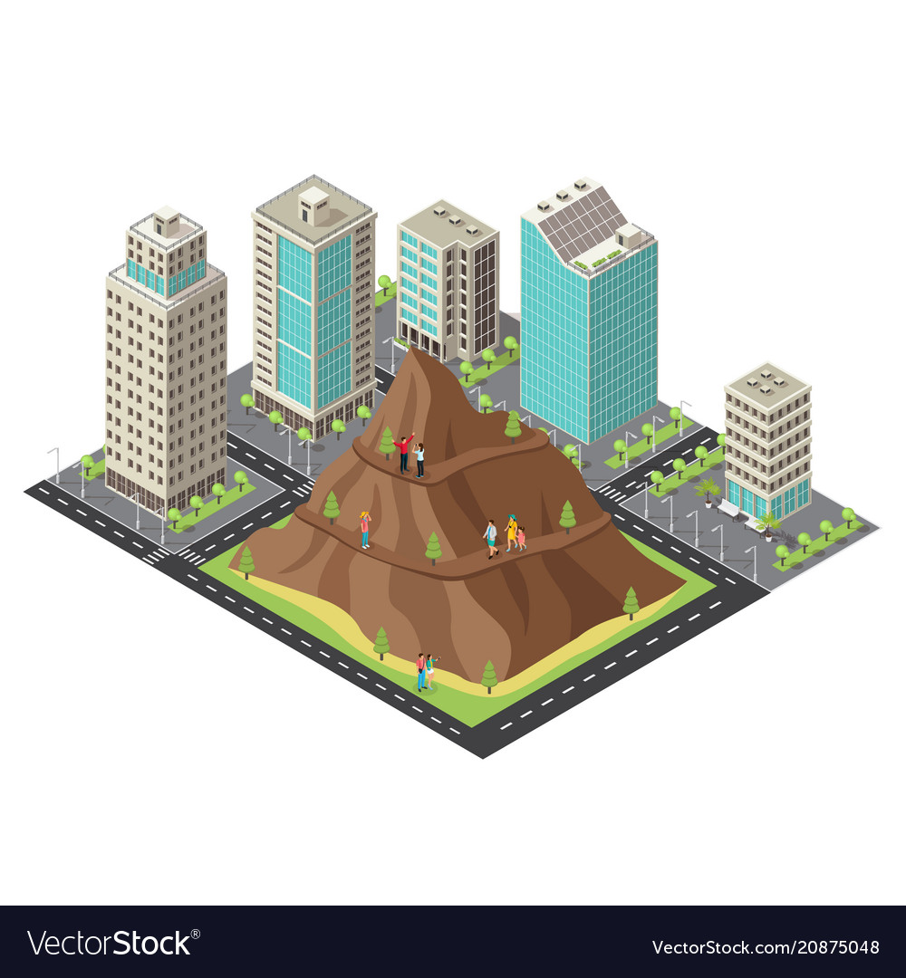 Isometric active leisure template vector image